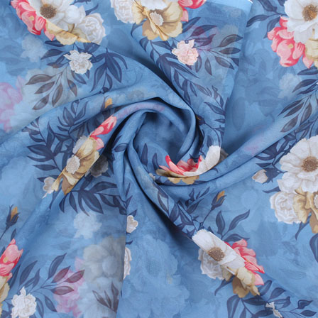Blue Brown and White Flower Georgette Silk Fabric-15086